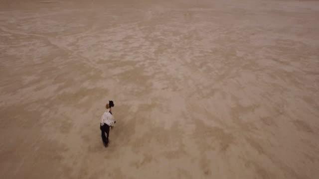 (hintergrundgeräusche) frau reiten in der wüste 02 - aerial overview soil stock-videos und b-roll-filmmaterial