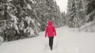 istock woman running in the snowy forest 1199737436