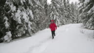 istock woman running in the snowy forest 1199753924
