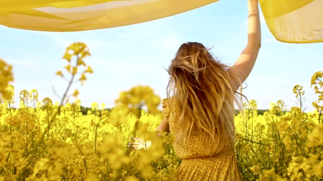 SLO MO Woman running with a shawl among canola flowers Slow motion camera stabilization shot of a young woman running with a yellow shawl through a field of blooming canola. dress stock videos & royalty-free footage