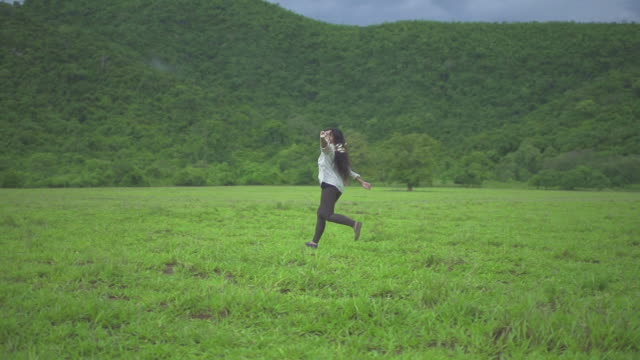 Woman Running With Dream Catcher video