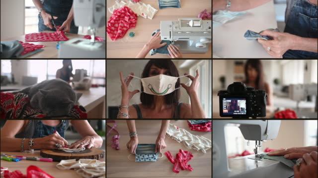 frau nähen covid-19 masken zu hause - montage filmtechnik stock-videos und b-roll-filmmaterial