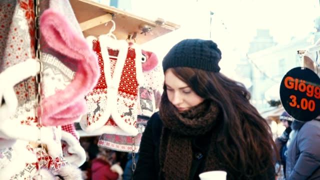 Woman Shopping at Christmas Market video