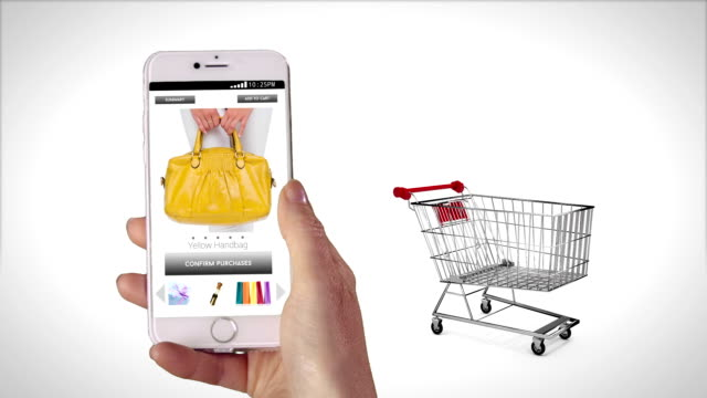 の女性のショッピングオンライン上の電話 - オンラインショッピング点の映像素材/bロール