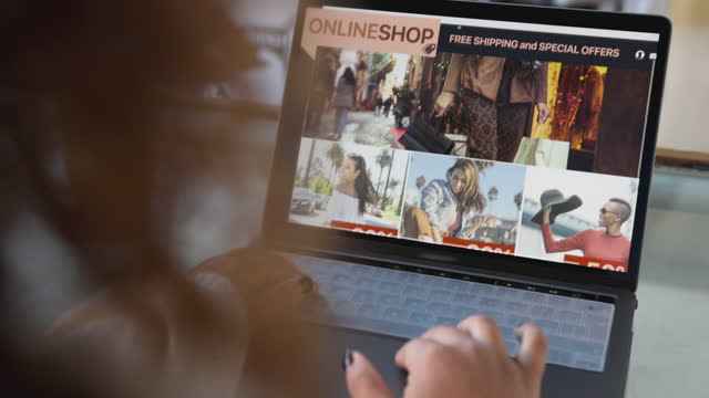 Woman shopping online on special Sale day video