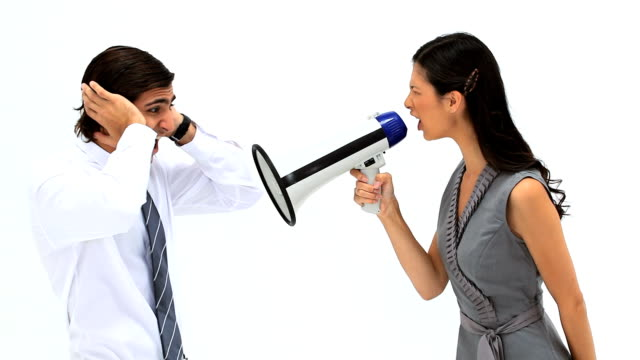 Woman shouting in a megaphone video