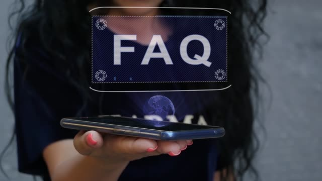 vídeos y material grabado en eventos de stock de mujer que muestra el holograma de hud faq - faq