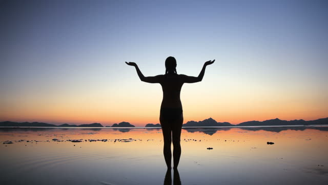 Woman silhouette symbolizing harmony and balance video