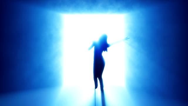 Woman singing. Blue. video