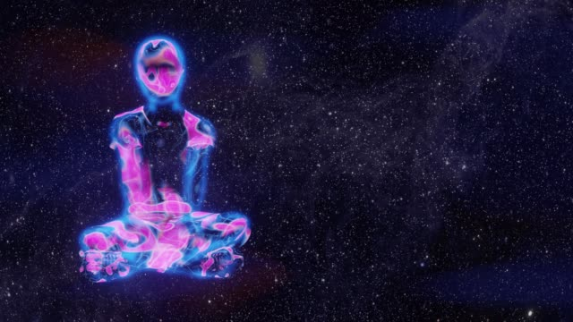 Woman sitting in meditation with a body of light with stars