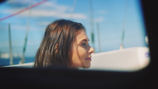 Woman sitting on boat