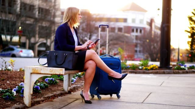 woman sitting on park bench using phone. - business travel stock videos and b-roll footage