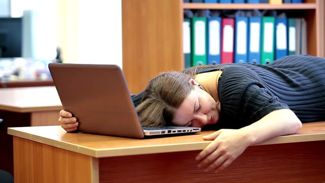 Woman slept an opening of working day video