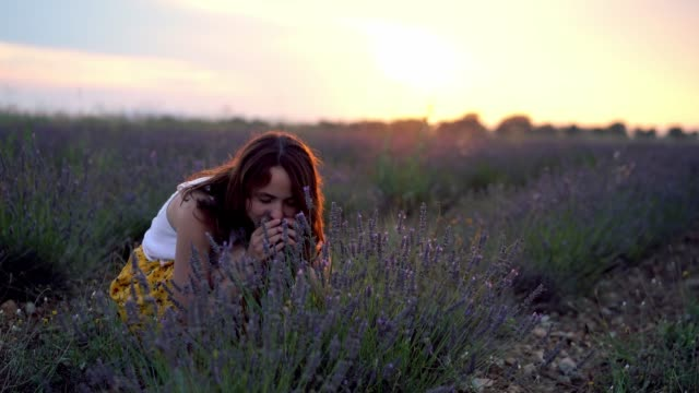 Woman smelling  lavender flowers on  field in Provence