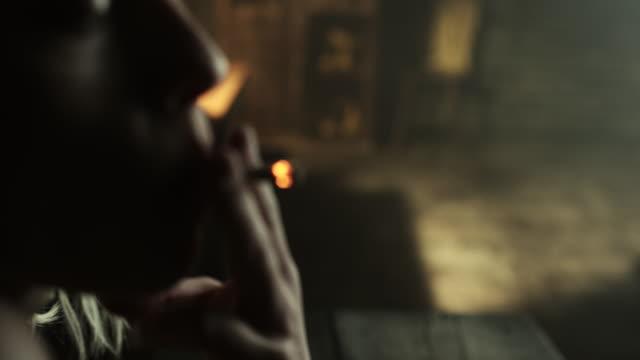 Woman smoking marijuana joint video