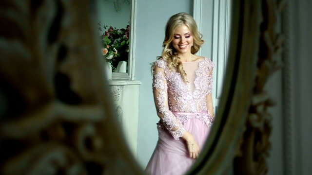 Woman Spinning Dress Slow Motion in mirror reflection video
