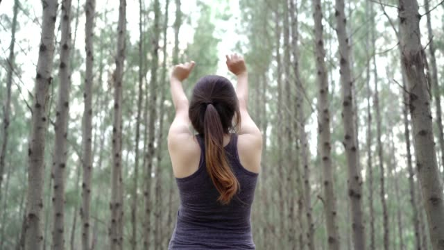vídeos de stock e filmes b-roll de woman sport resting and relax in the forest after runner workout her having enjoy freedom active healthy lifestyle stretching on summer or autumn. - gmail