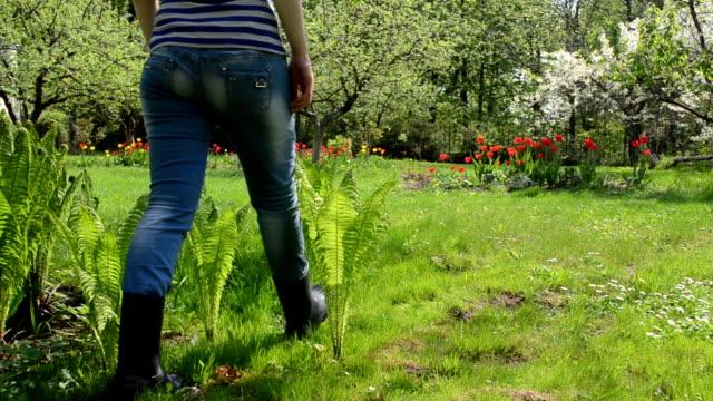 woman spring garden video