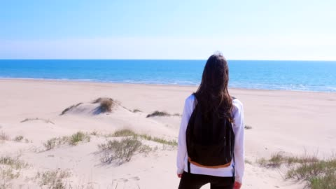 woman stands on sea sand beach among dunes and looks at sea vacation back view. - capelli castani video stock e b–roll