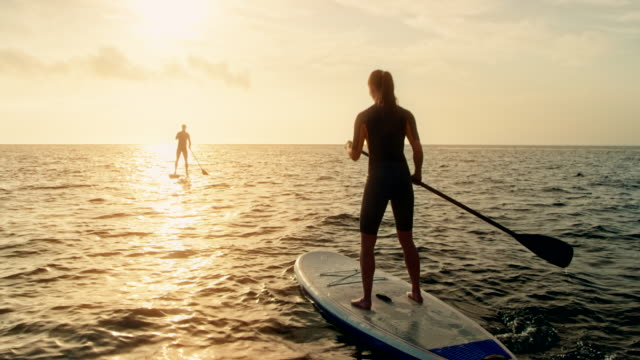 Woman standup paddling behind the man at sunset video