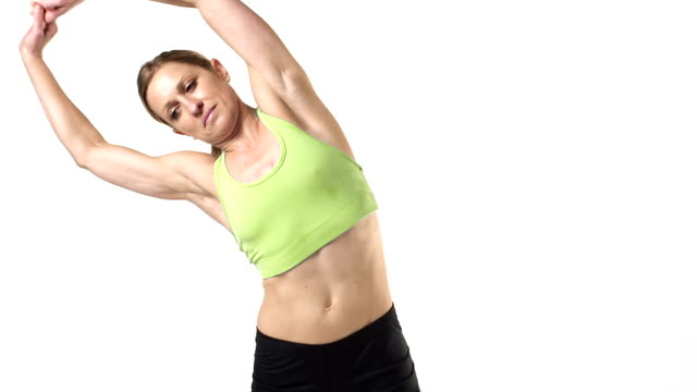 Woman Stretching on White video