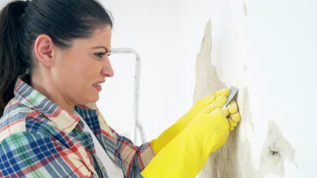 vídeos de stock e filmes b-roll de woman struggling to remove old paint. - dureza
