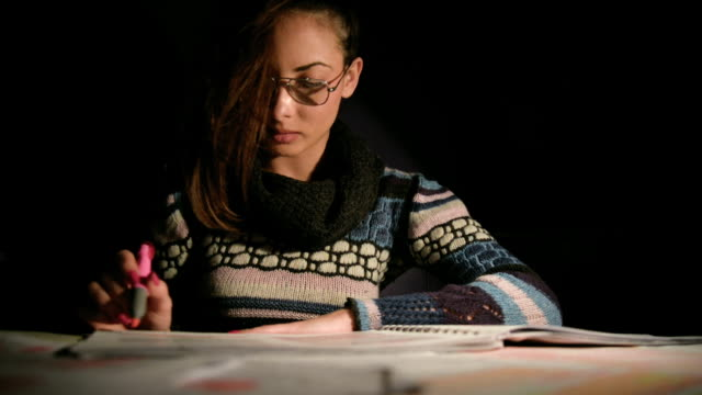 Woman student learning video