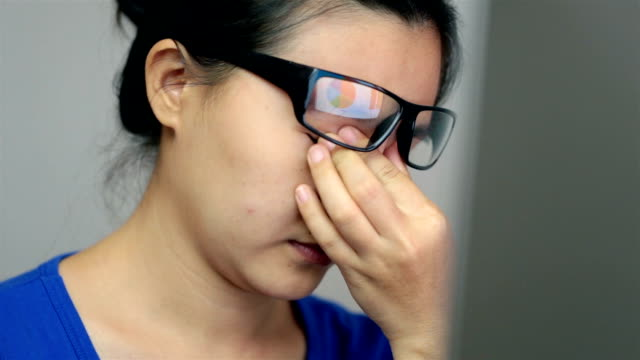Woman suffering from eye strain video
