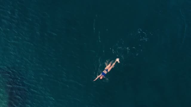 AERIAL SLOW MOTION: woman swimming in blue transparent sea AERIAL SLOW MOTION: woman floating on blue water surface, swimming in transparent mediterranean sea, top down view, summer vacation concept swimming stock videos & royalty-free footage
