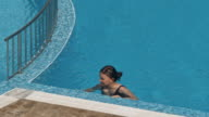 istock Woman swimming on a blue water pool 1270522557