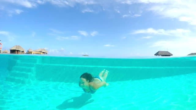 SLOW MOTION: Woman swimming underwater in pool towards the camera video