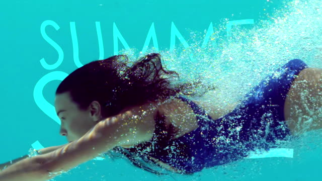 Woman swimming underwater video