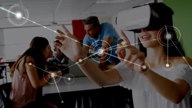 kvinnan svepa i luften medan du bär en virtuell verklighet headset - moods vector boy bildbanksvideor och videomaterial från bakom kulisserna