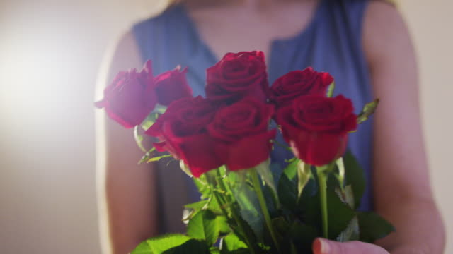 Woman Takes a Bouquet of Red Roses video