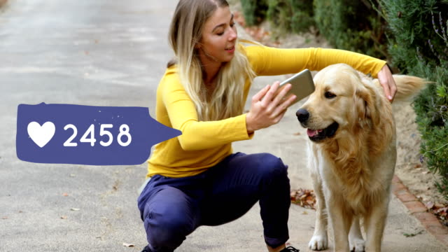 Woman taking selfies with her dog 4k