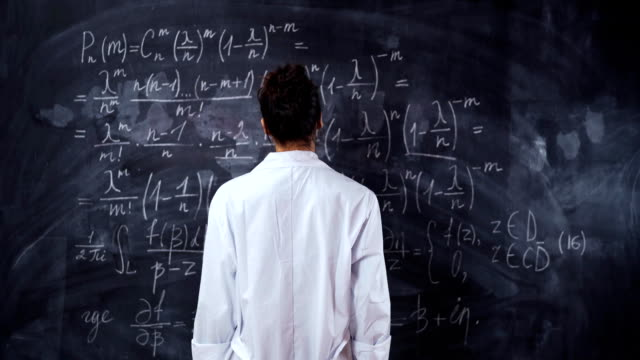 Woman teacher in white robe think about math equation on board. Solve and prove the theorem video