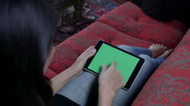 Woman Touching Ipad Green Screen Computer Monitor Internet Web Site video