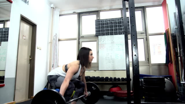 Woman training in gym One woman, training in gym, weight training indoors. only young women stock videos & royalty-free footage