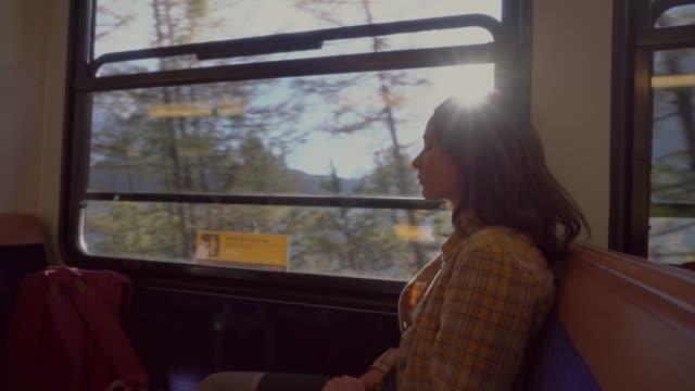 woman traveling in gornergrat train - wagon kolejowy filmów i materiałów b-roll