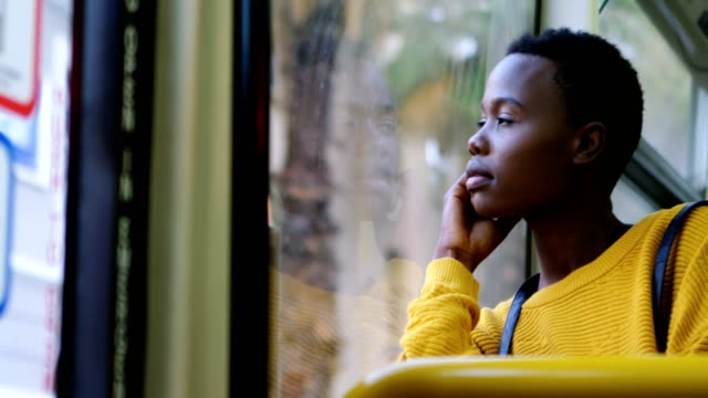 Woman travelling in bus 4k