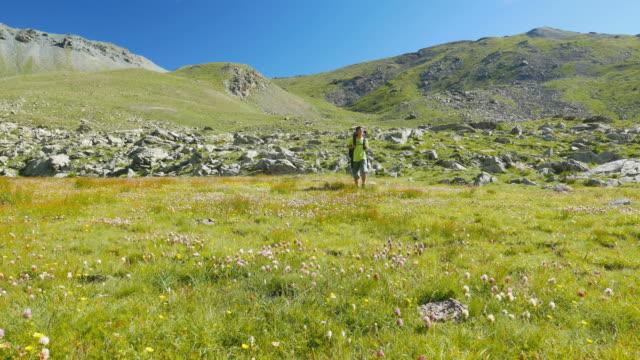 Woman trekking in idyllic mountain landscape on the Italian Alps video