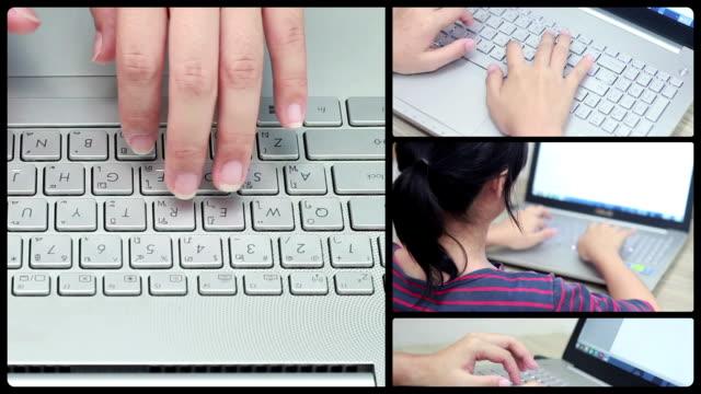 MONTAGE LOOP :Woman Typing at Keyboard video