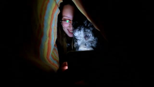kvinna under duntäcke användning mobiltelefon - duntäcke bildbanksvideor och videomaterial från bakom kulisserna