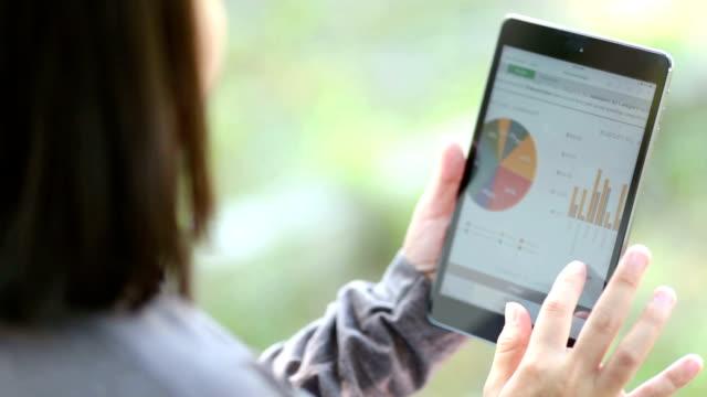 Woman use Digital Tablet at Garden video