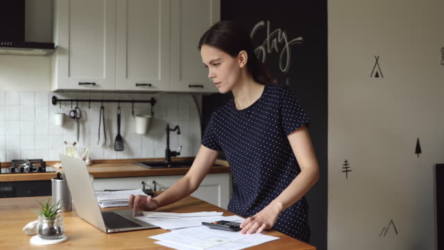 Woman use pc makes calculations and analysis of expenses incomes