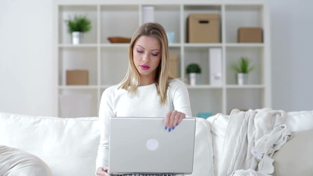 Woman using a computer video