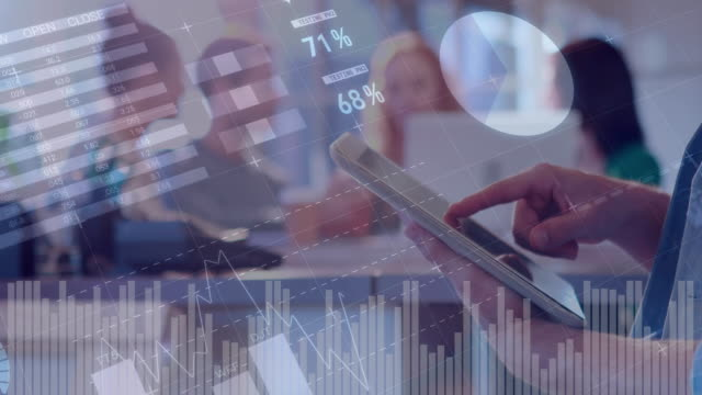 Woman using a tablet and graphs 4k Digital composite of a woman using a digital tablet in an office with diverse colleagues in the background and graphs moving in the foreground 4k growth icon stock videos & royalty-free footage