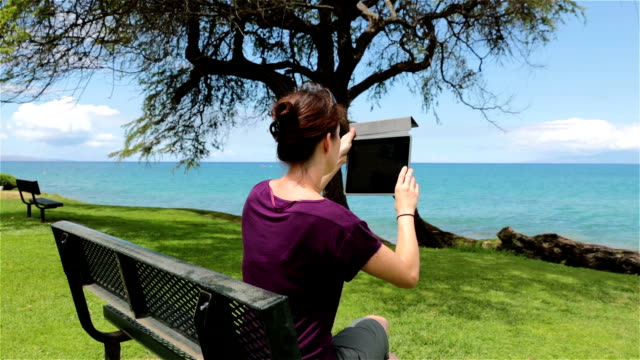 Woman using an electronic tablet on a bench video
