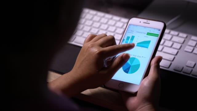 使用智慧手機,利用統計的女人 - 投資 個影片檔及 b 捲影像