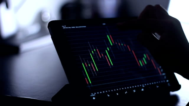 woman using Tablet for analysis stock video
